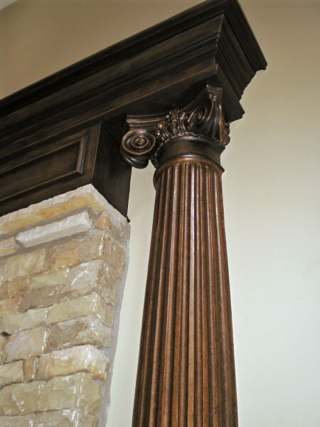 faux finish mantel column
