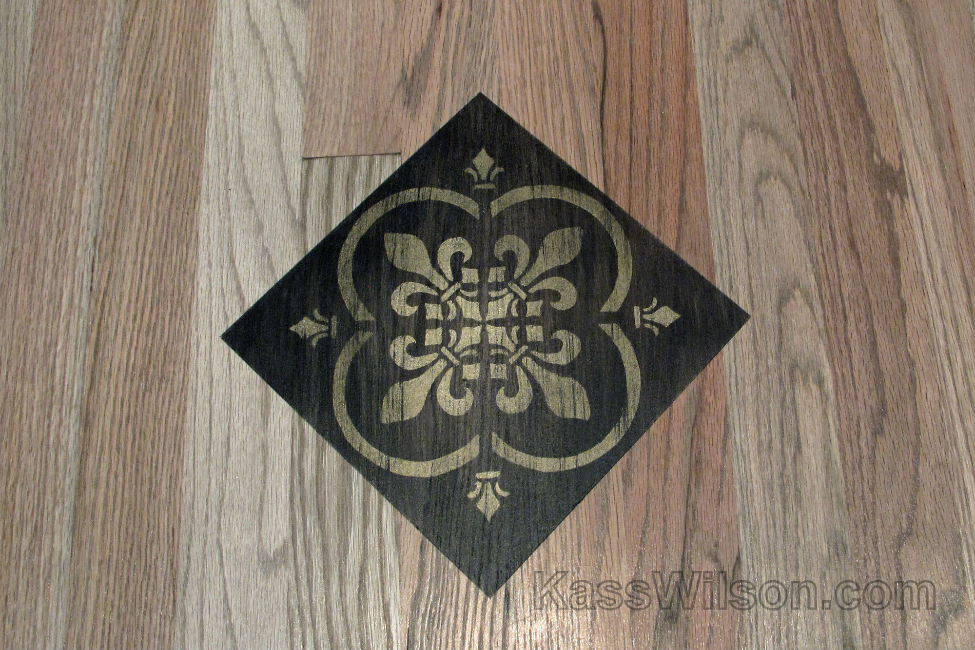 detail of decorative painted floor