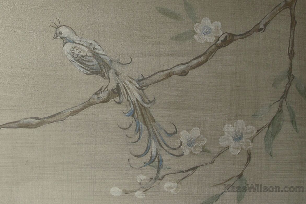 Detail of chinoiserie motif in decorative painting