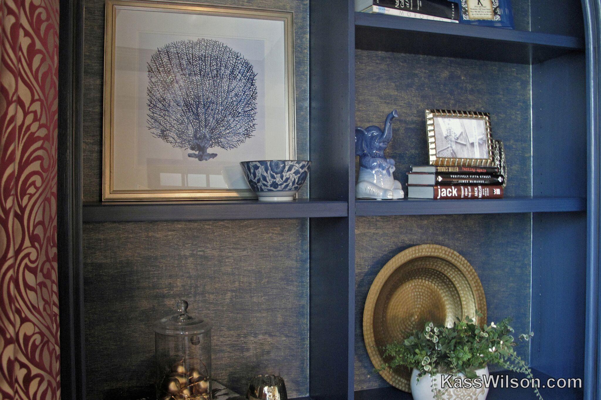Dress Blues - bookcase faux finish