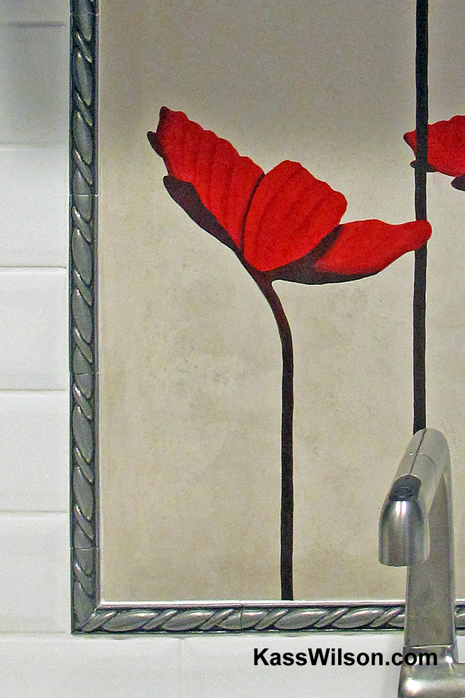 custom painted back splash tile