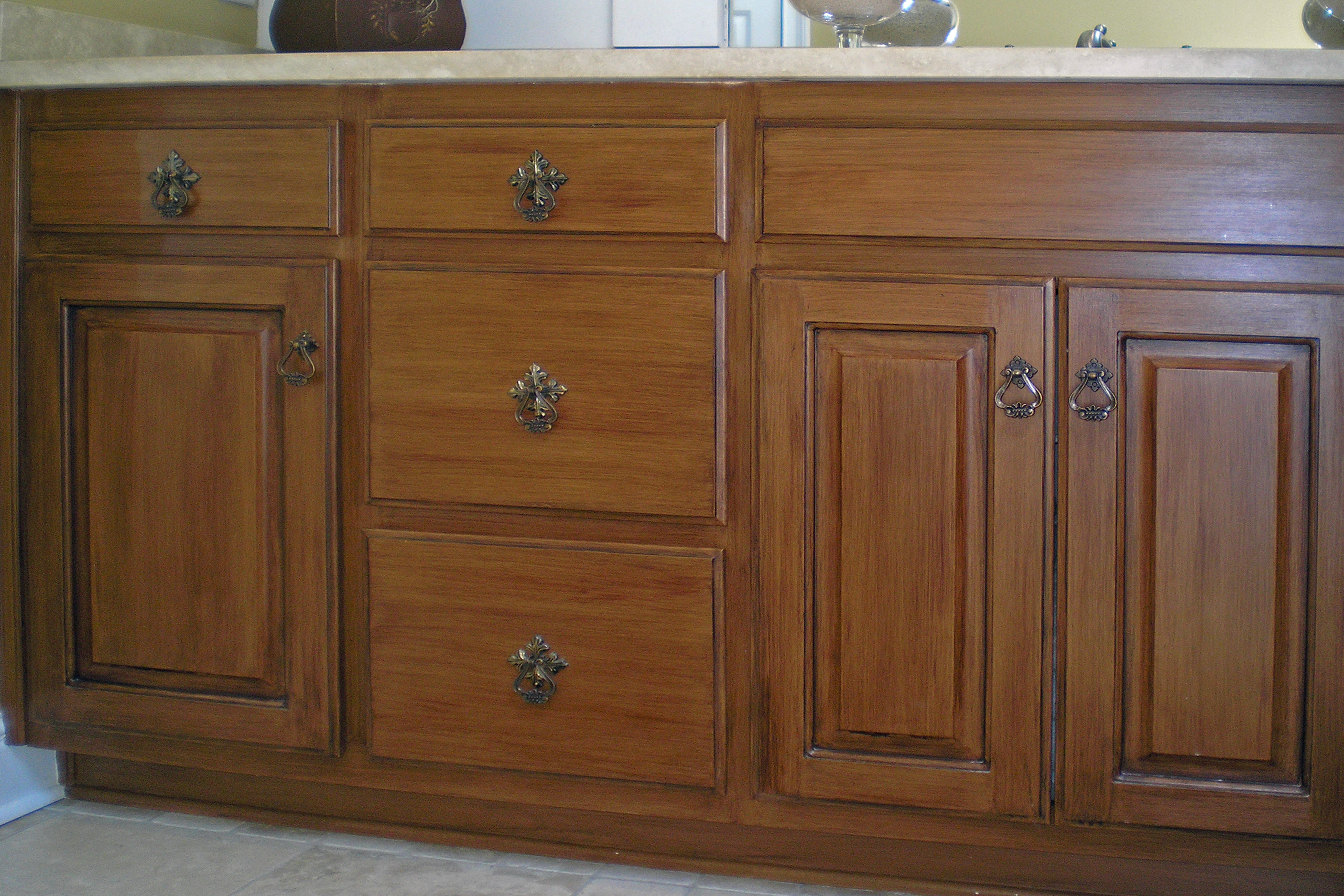 Faux woodgrain cabinet refinishing