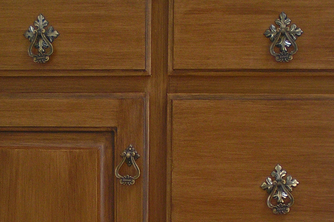 Cabinet refinishing with hardware