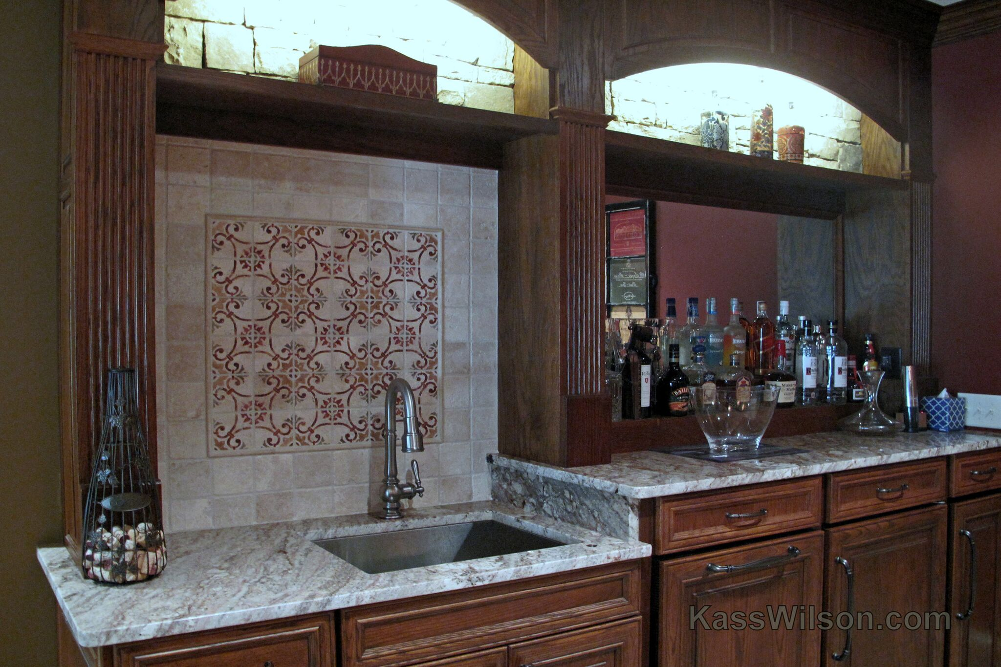 hand painted tile backsplash
