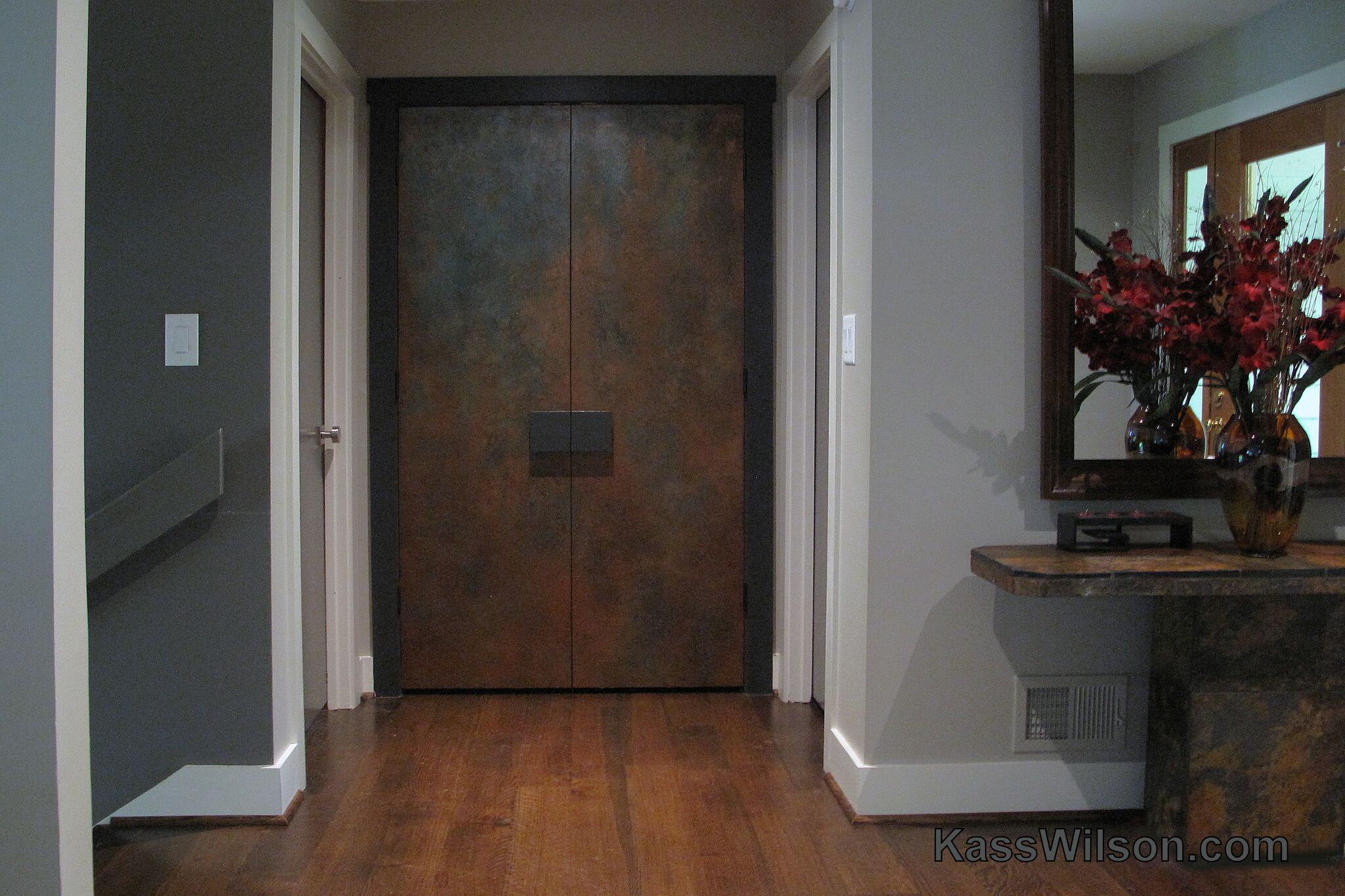 Painted copper doors as art