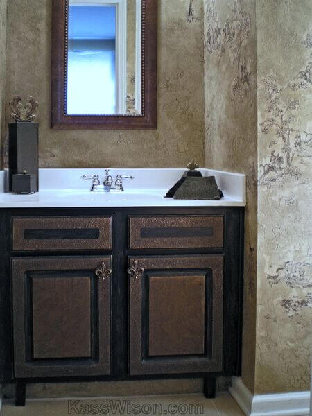 powder room with faux finish walls