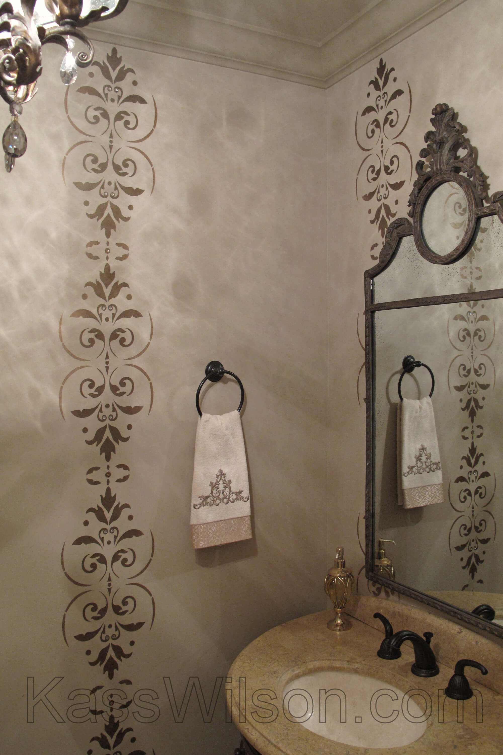 stenciled decorative painting in powder room