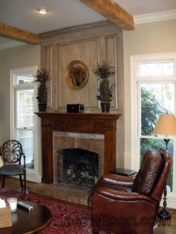 Fireplace after faux finish