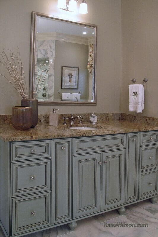 transitional bathroom cabinetry refinishing