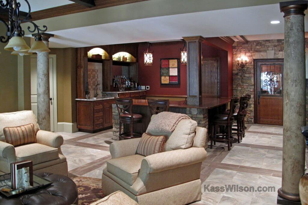 decorative finishes in Atlanta basement remodel