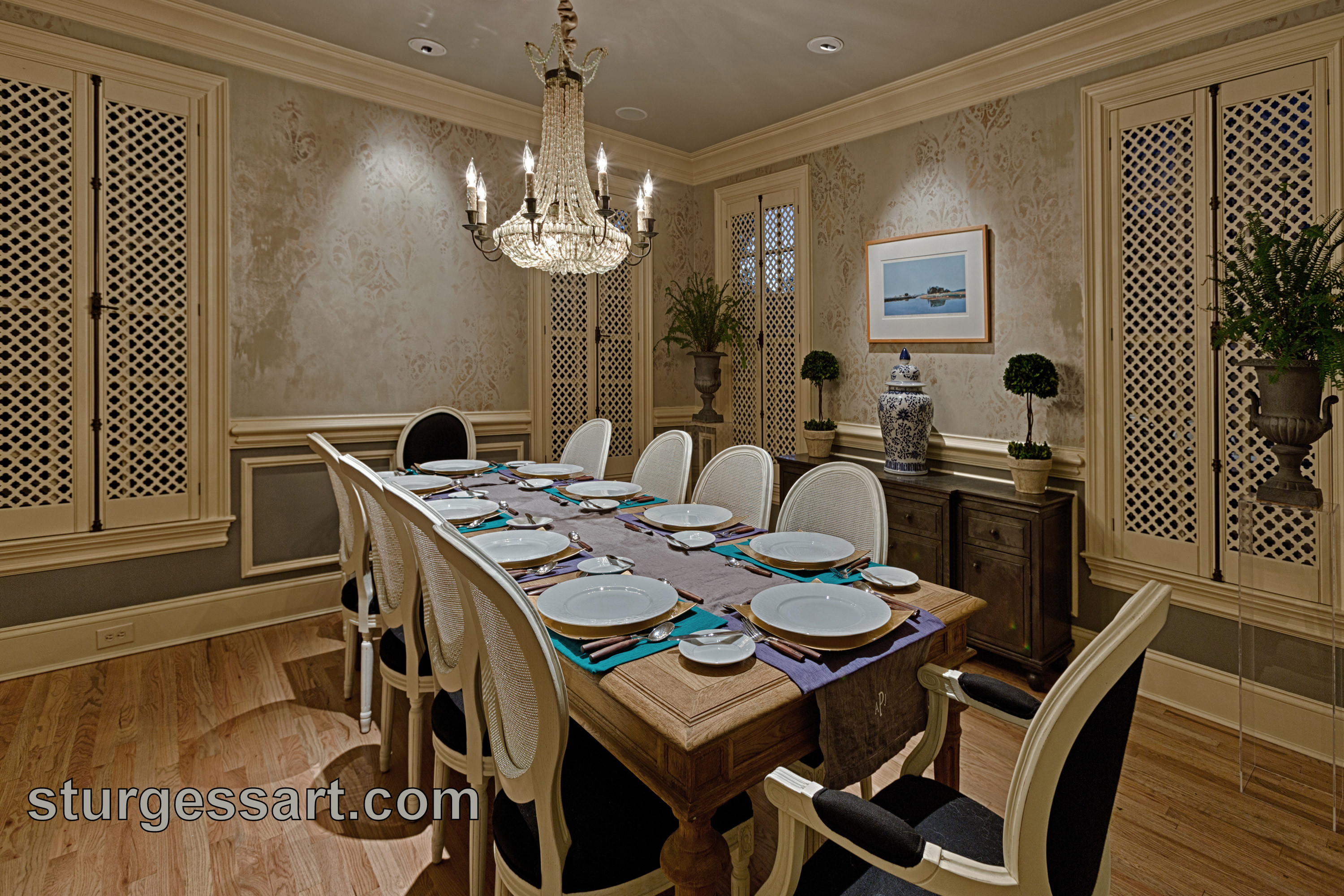 Faux finish dining room walls