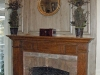 faux bois decorative painting on mantel