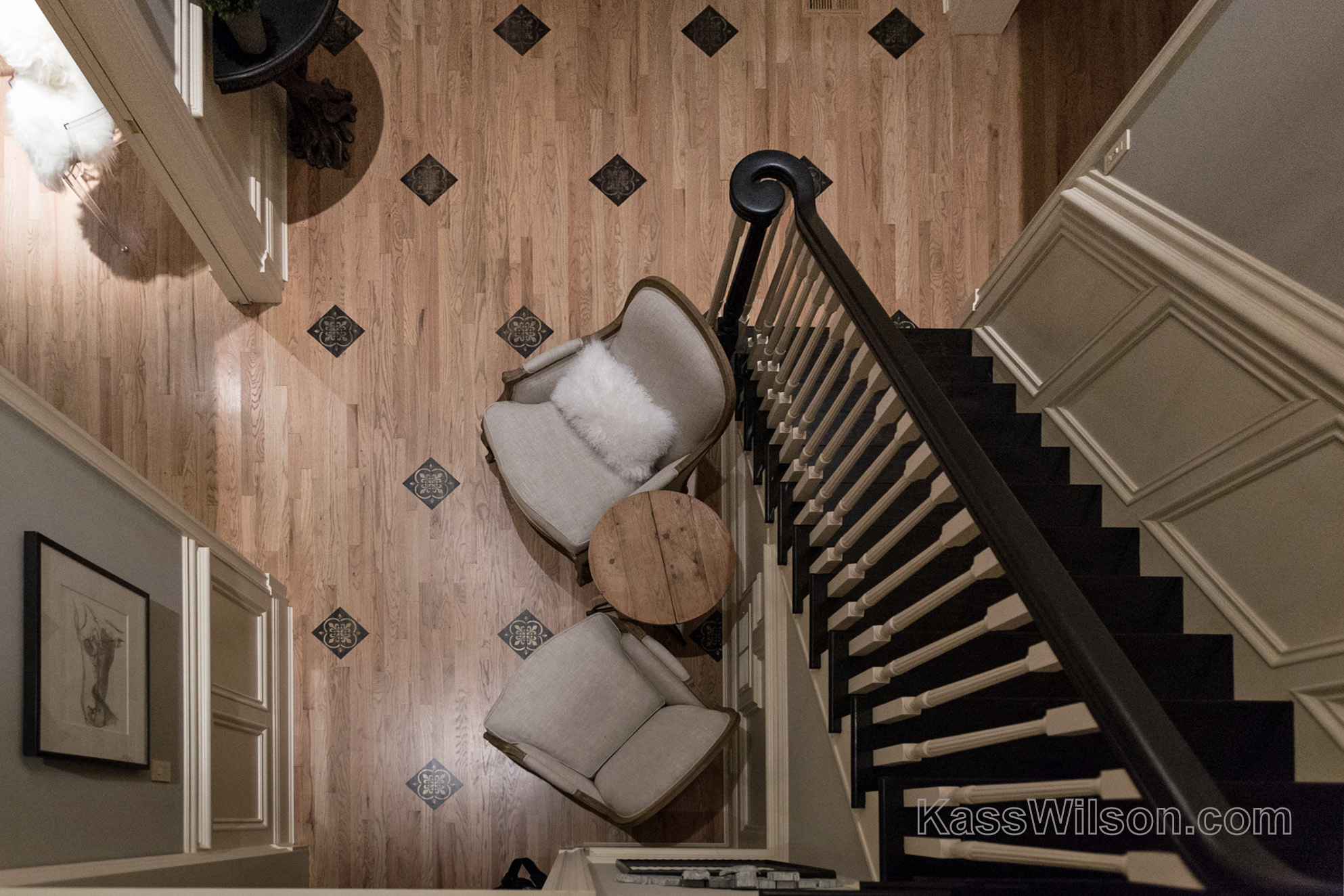 aerial view of faux finish foyer