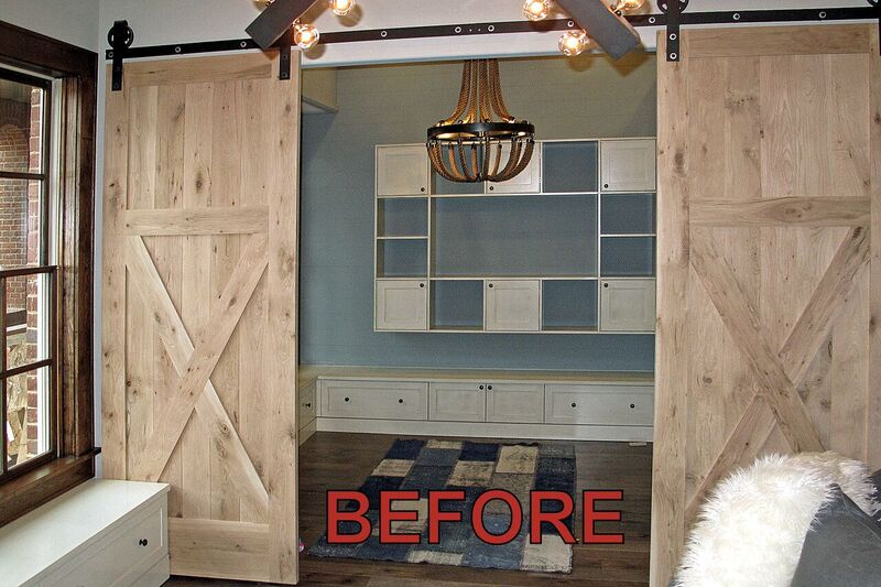 before barn door faux finish