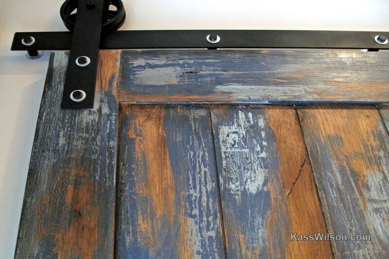 detail of weathered faux finish door