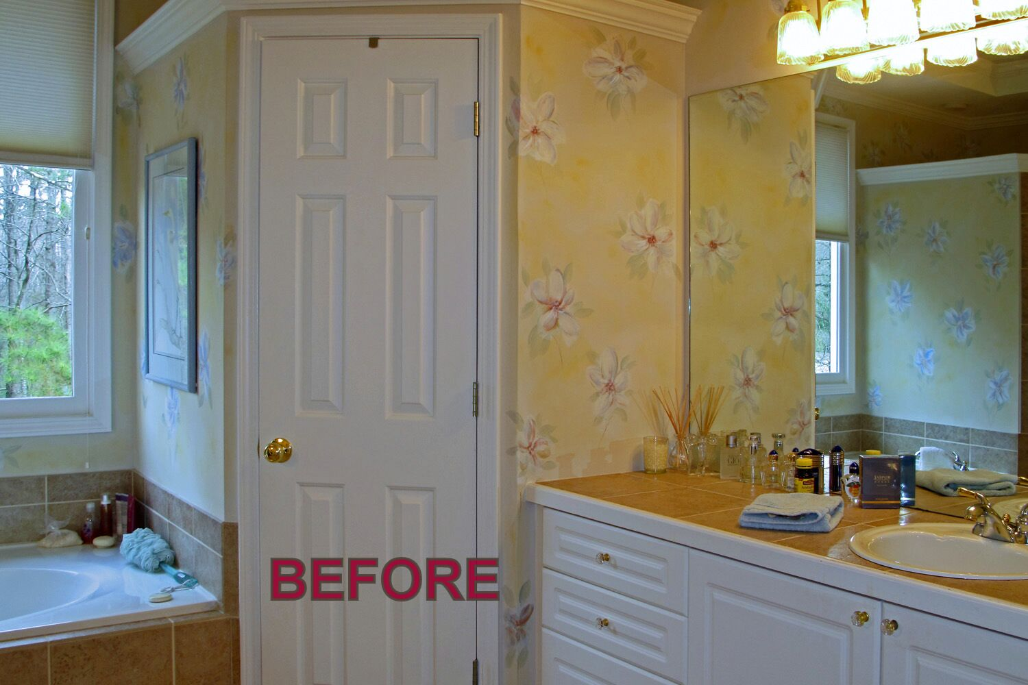Before decorative painting bathroom remodel