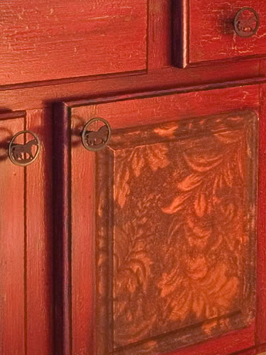faux leather on cabinets