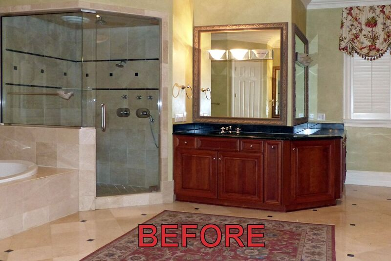 master bath before cabinet refinishing