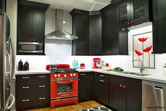 kitchen remodel with painted custom tile