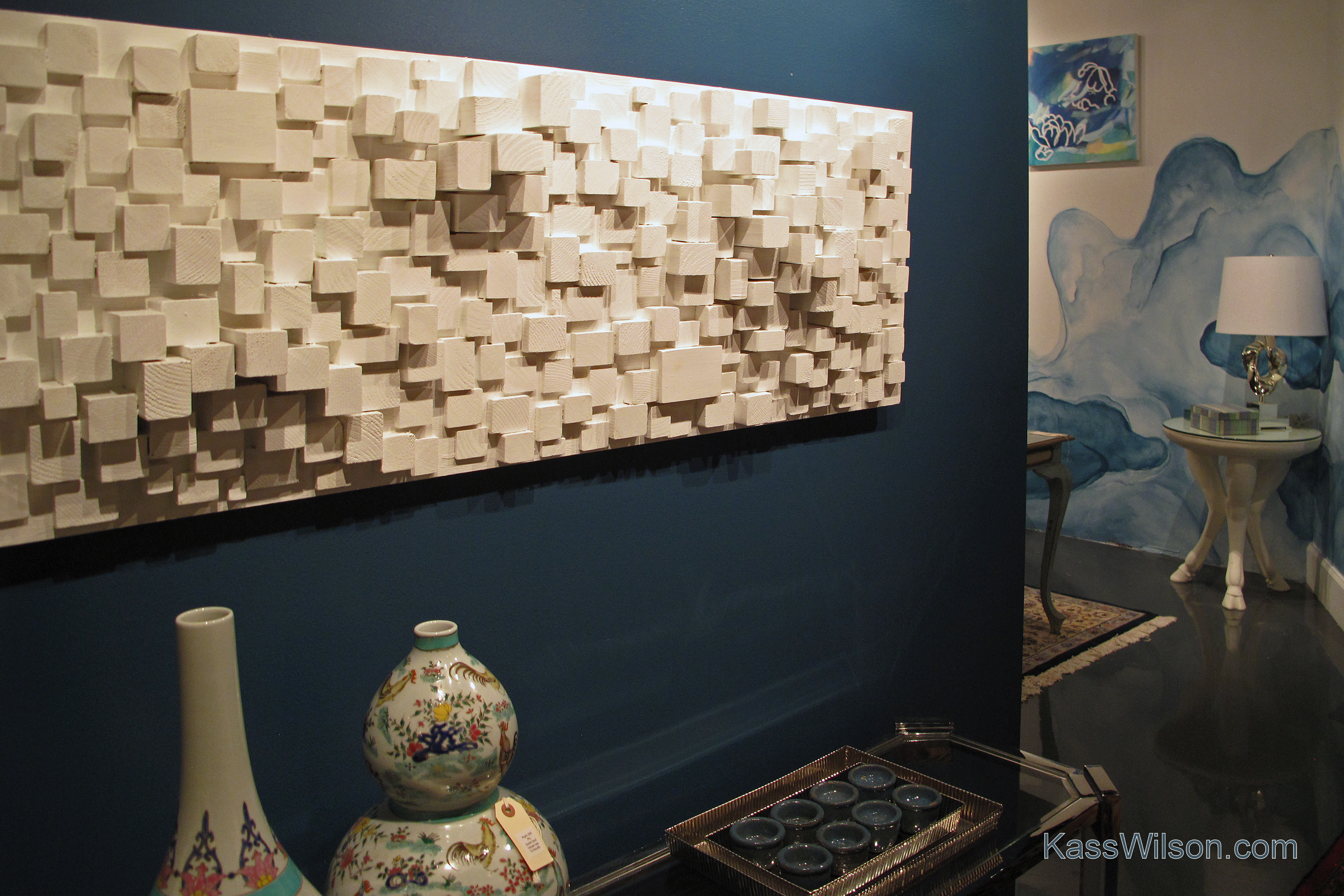 Entry to Thrift Studio showroom with watercolor walls