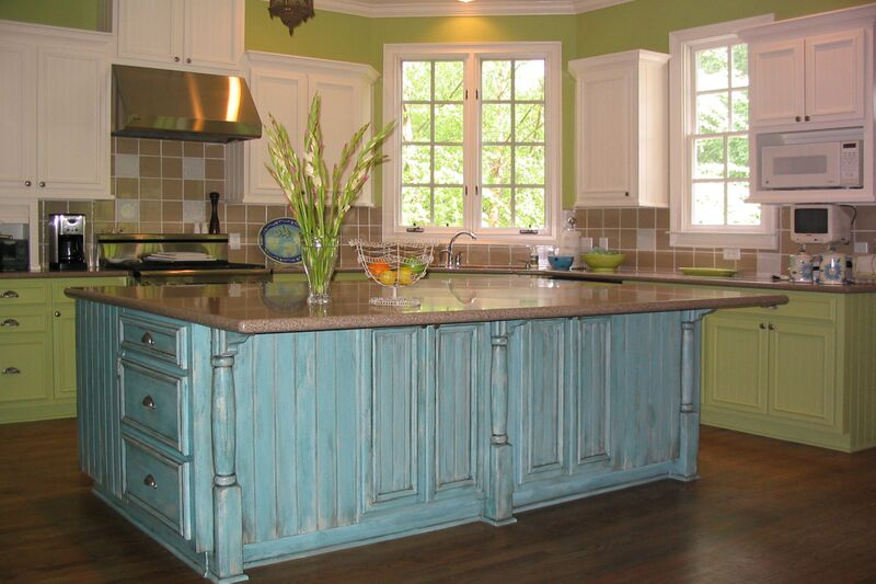 Colorful cabinet refinishing