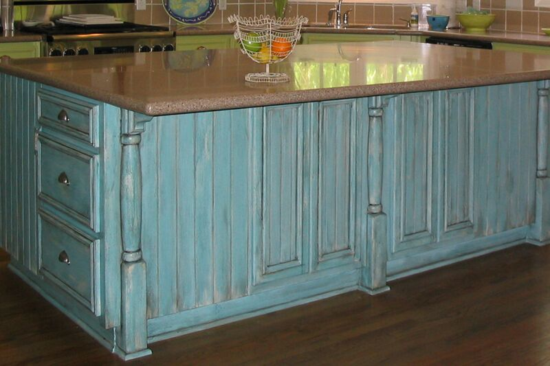 Aged and distressed cabinet finish