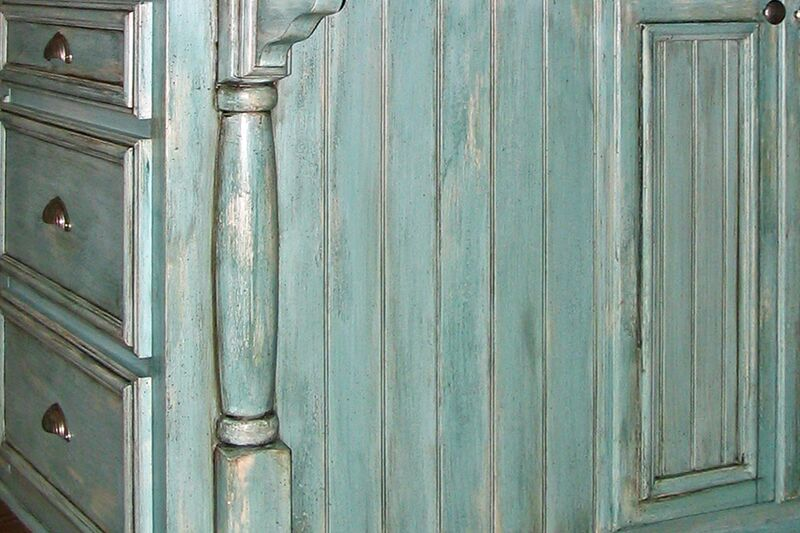 Detail of distressed cabinetry