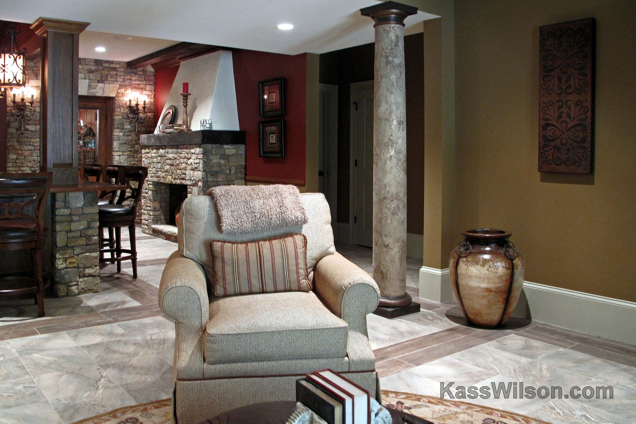 decorative painting in basement remodel