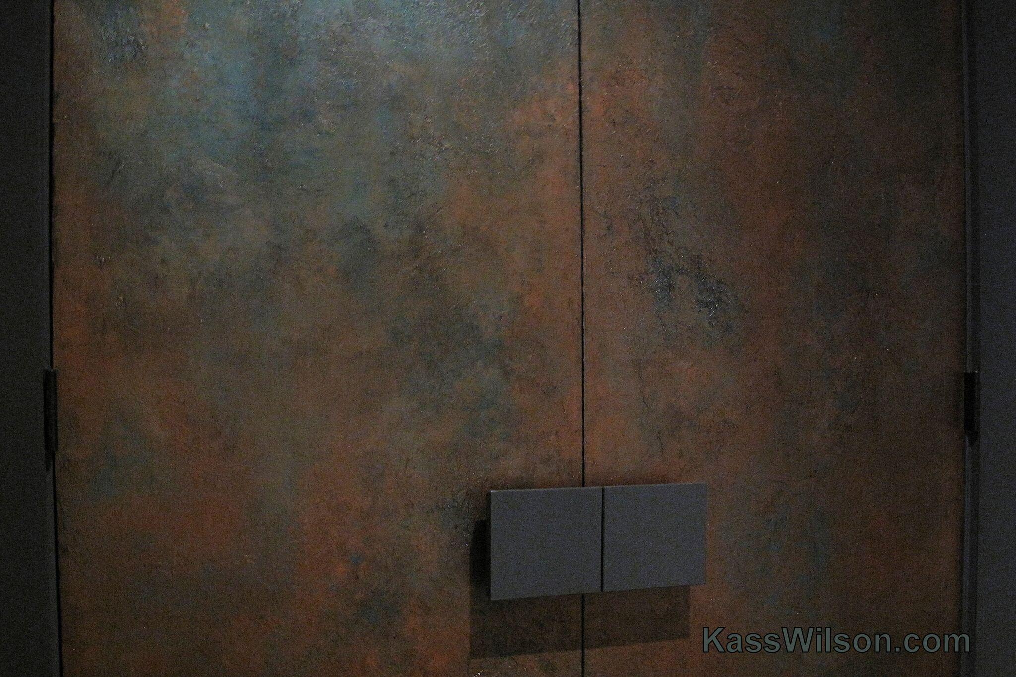 Painted copper doors closeup