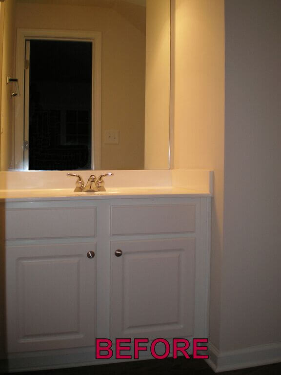 powder room before faux finish