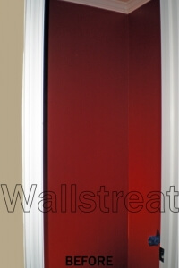 before- faux finish painting on red