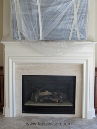 before fireplace faux finish