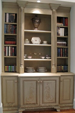 built-in book case after decorative finish