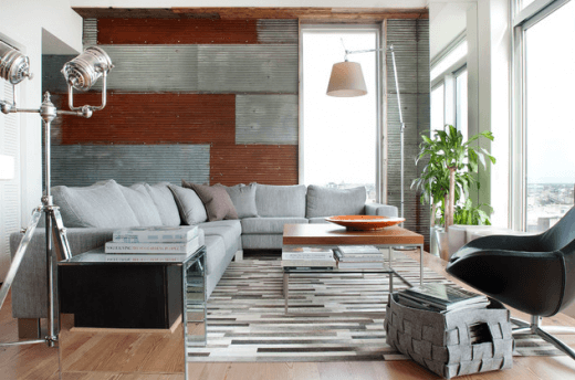 industrial living room with metal walls