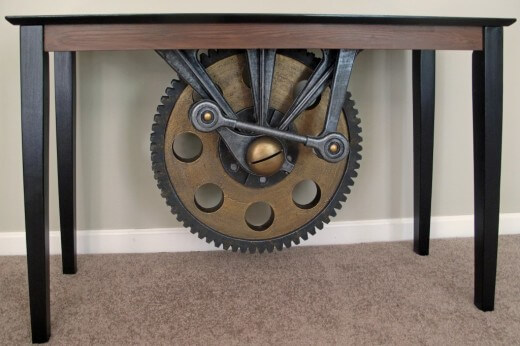 custom industrial table with faux finishes