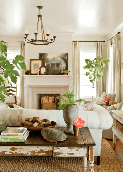 living room with rustic, aged finishes