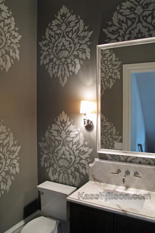 On a Grand Scale: Custom Stenciled Powder Room