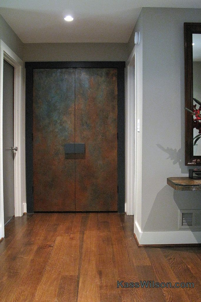painted copper doors after