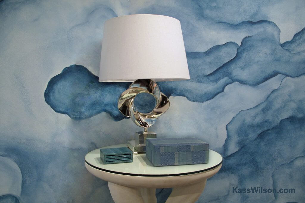 faux finish blue watercolor wall