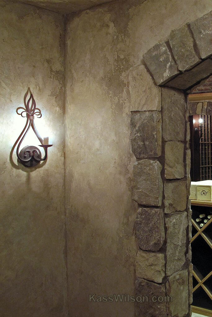 Old World wine cellar with faux finishes